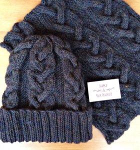 Вязаные шапка и снуд/шарф ручной работы