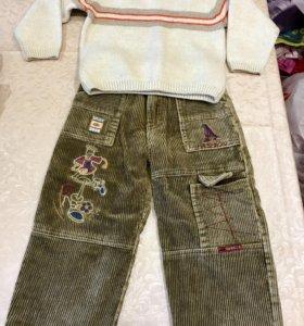 Костюм штаны на флисе и свитер  шерсть р 104