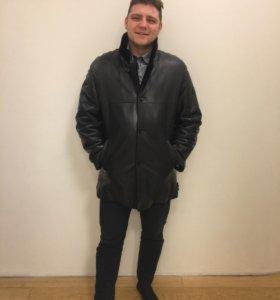 Мужская кожаная утепленная дубленка куртка пальто