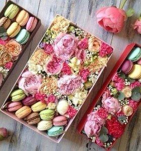 Цветы в коробке.доставка