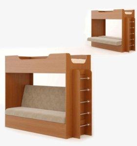 Кровать с диваном. Новая
