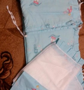 Бортики в кроватку + балдахин