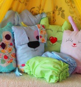 Бортики ЗВЕРЯТА для детской кроватки на 3 стороны