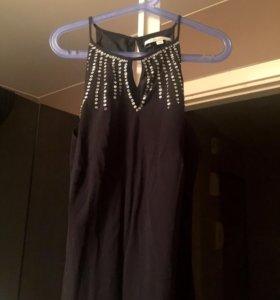 Чёрное вечернее длинное платье в пол