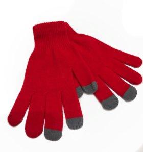 Перчатки красные для сенсорных экранов