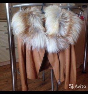 Куртка натуральная кожа с мехом лисы