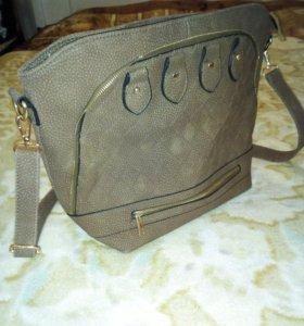 Новая сумка рельефная кожа, светло-коричневый цвет