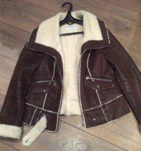 Куртка -дубленка.Коричневая,44-46 размер