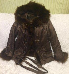 Куртка с мехом енота