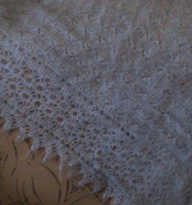 Платок пуховый ажурный(светло серый)
