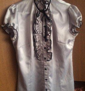 Атласная блуза (рубашка) серого цвета