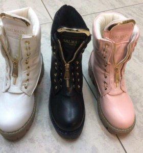 Розовые ботинки зима