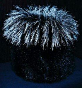 Меховая шапка Песец Чернобурка