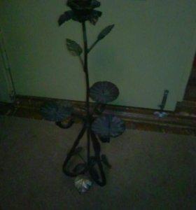 Подсвечник роза кованый