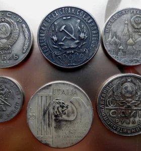 Копии коллекционных монет посеребренных