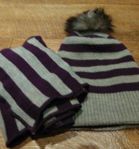 Шапка, шарф зимний комплект