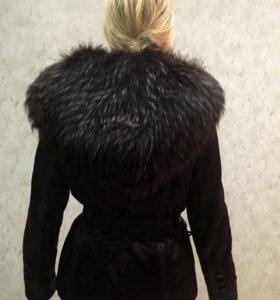 Куртка с енотом. Подстежка на кролике. Р-р 44-46