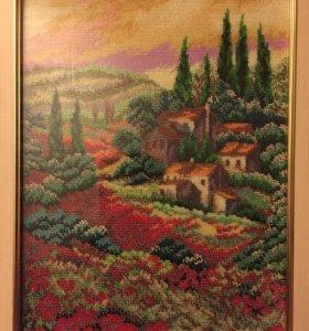 Картина, пейзаж, вышивка из бисера.