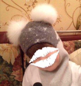 Зимняя шапка шлем для девочки
