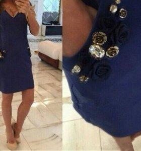 Платье темно-синего цвета,новое