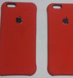 Красный кожаный чехол на iphone 6