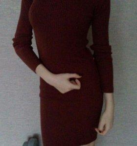 Теплое платье. Коричнево-бордовое.