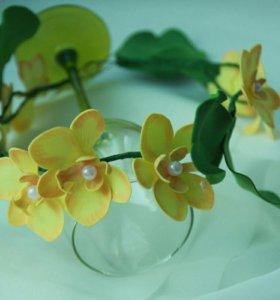 """Венок для фотосессий """"Орхидеи"""". Желтые цветы"""