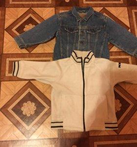 8 рубашек,джинсовая курточка и тёплая кофта