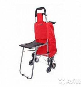 Cумка - тележка хозяйственная со стульчиком на 6 к