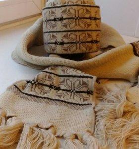 Шапка с шарфом новые