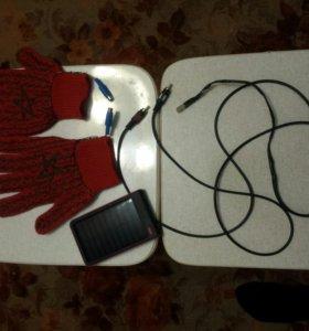 Перчатки с подогревом от павербанка от usb входа.