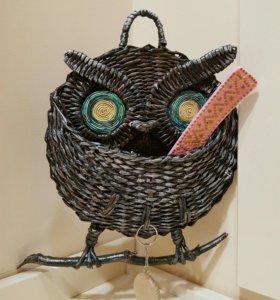 Сова-ключница плетеная