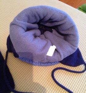 Шапка с шарфом зимняя 5-6 лет