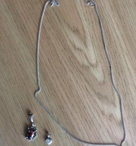 Серебряная цепочка и 2 подвески ❗️❗️❗️