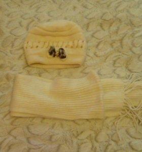 Шапка(зимняя),с шарфом.