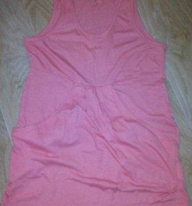 Платье-туничка цвет коралл х/б р.42/44