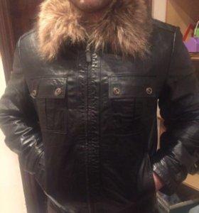 Кожаная куртка с мехом!