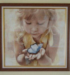 Красивая картина. Девочка и бабочка. Ручная работа