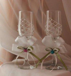 Свадебные бокалы ручная роспись