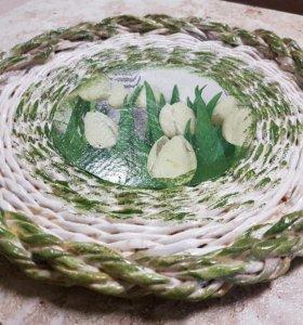 Панно -поднос плетеный