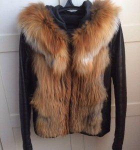 Куртка кожаная мех лиса
