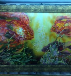 Картина Золотые рыбки на холсте маслом 50-100