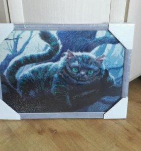 Картина алмазная мозаика Чеширский кот