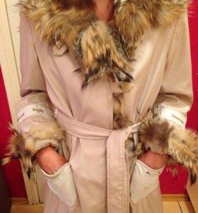 🐯Зимнее пальто с мехом енота