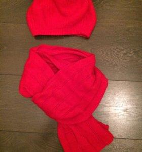 Комплект шапка и шарф шерсть