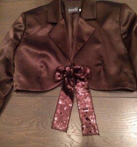 Атласный укорочённый пиджак