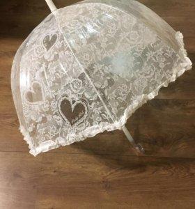 Свадебный зонт от дождя новый