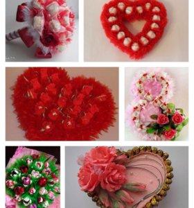 Букеты из конфет и игрушек