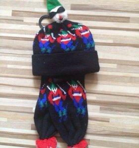 Новый! Комплект (шапка+шарф) р. от 6 мес