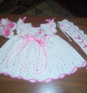 Крестильный набор:платье,пинетки,веночек!!!!